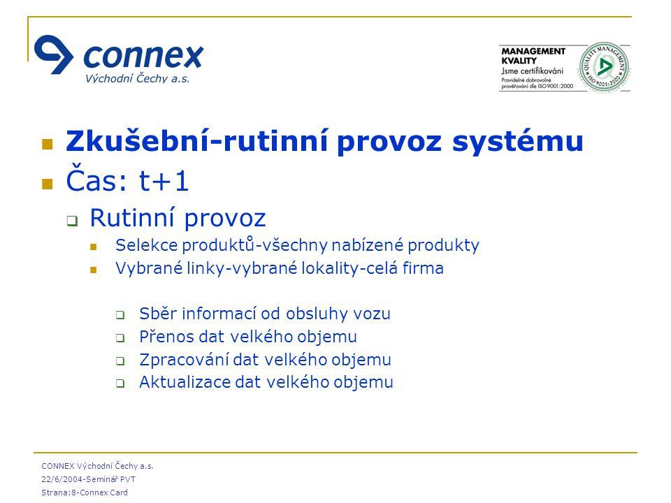 CONNEX Východní Čechy a.s. 22/6/2004-Seminář PVT Strana:8-Connex Card Zkušební-rutinní provoz systému Čas: t+1  Rutinní provoz Selekce produktů-všech