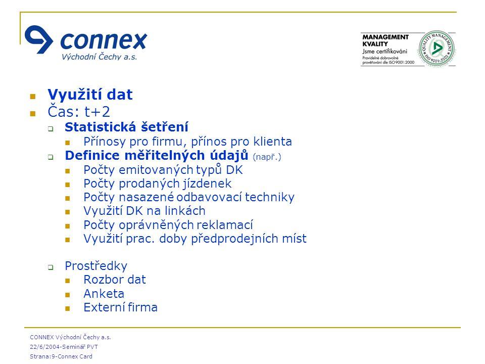 CONNEX Východní Čechy a.s. 22/6/2004-Seminář PVT Strana:9-Connex Card Využití dat Čas: t+2  Statistická šetření Přínosy pro firmu, přínos pro klienta