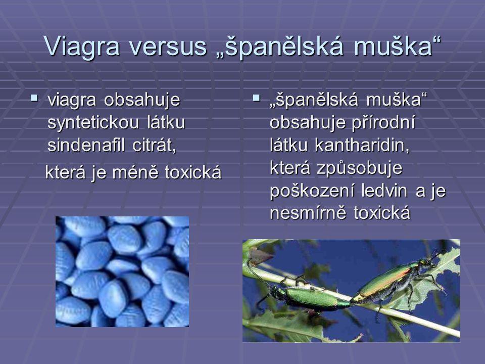 """Viagra versus """"španělská muška  viagra obsahuje syntetickou látku sindenafil citrát, která je méně toxická která je méně toxická  """"španělská muška obsahuje přírodní látku kantharidin, která způsobuje poškození ledvin a je nesmírně toxická"""