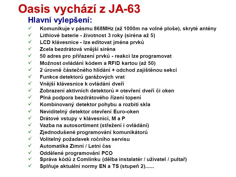 Oasis vychází z JA-63 Hlavní vylepšení: Komunikuje v pásmu 868MHz (až 1000m na volné ploše), skryté antény Lithiové baterie - životnost 3 roky (siréna