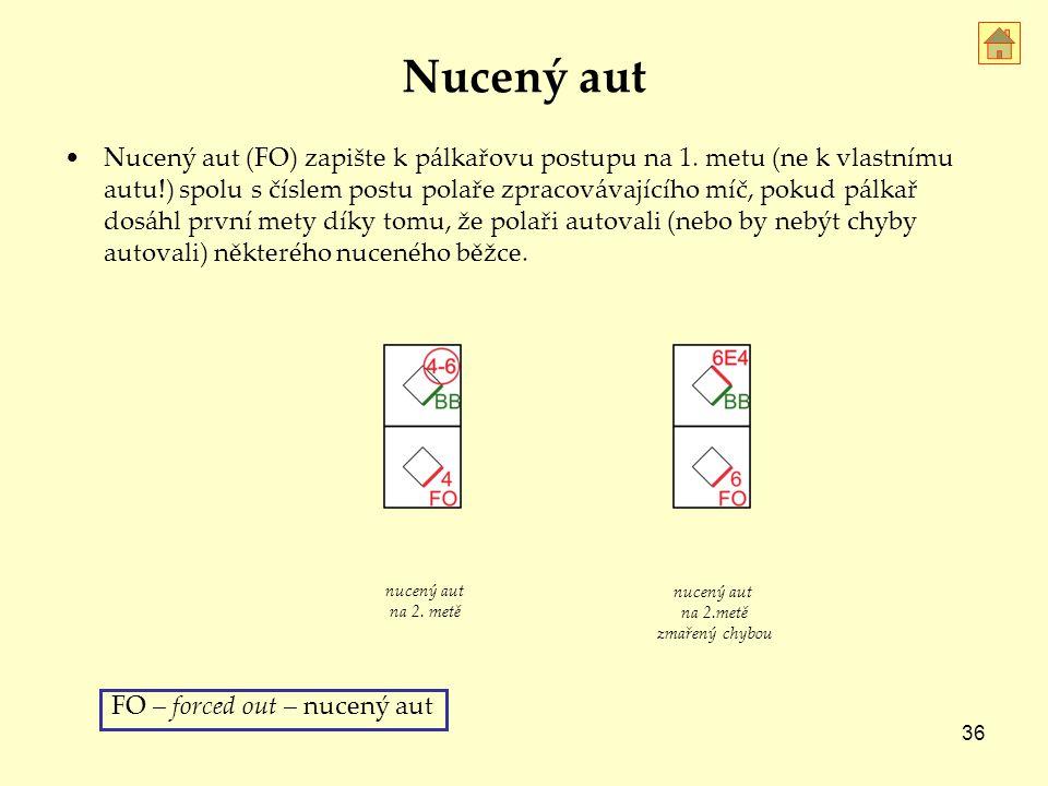36 Nucený aut Nucený aut (FO) zapište k pálkařovu postupu na 1.