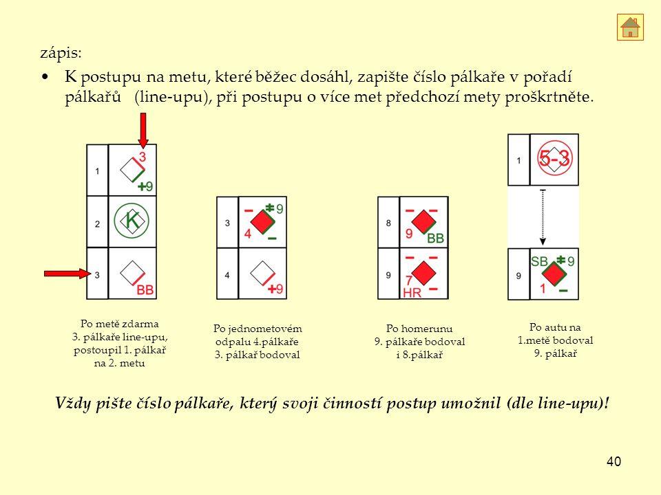 40 zápis: K postupu na metu, které běžec dosáhl, zapište číslo pálkaře v pořadí pálkařů (line-upu), při postupu o více met předchozí mety proškrtněte.