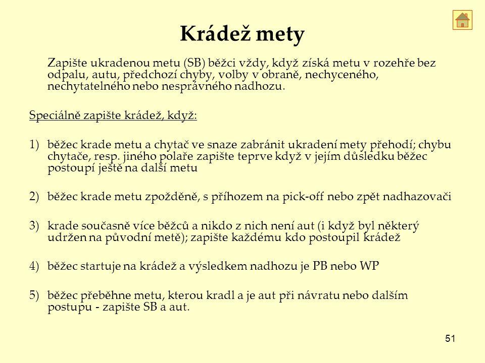 51 Krádež mety Zapište ukradenou metu (SB) běžci vždy, když získá metu v rozehře bez odpalu, autu, předchozí chyby, volby v obraně, nechyceného, nechytatelného nebo nesprávného nadhozu.
