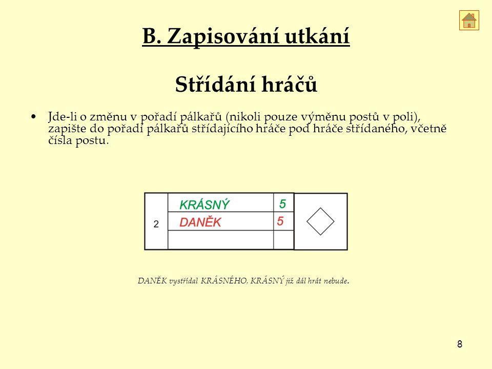 8 Střídání hráčů Jde-li o změnu v pořadí pálkařů (nikoli pouze výměnu postů v poli), zapište do pořadí pálkařů střídajícího hráče pod hráče střídaného, včetně čísla postu.