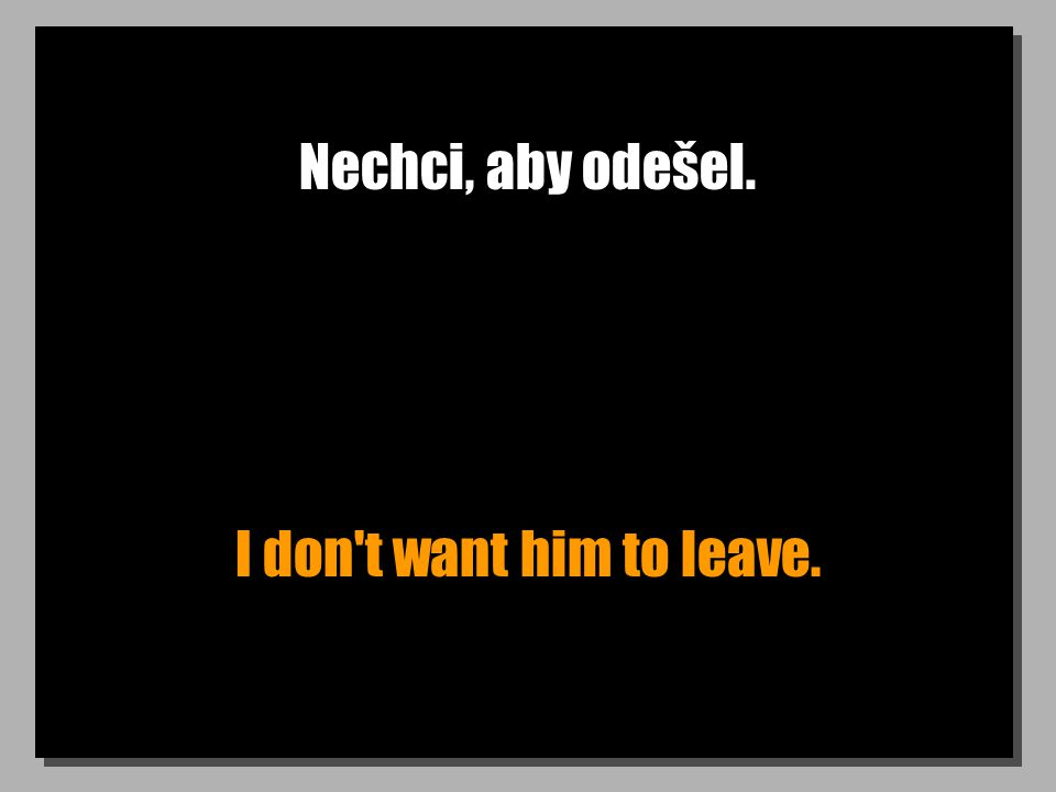 Nechci, aby odešel. I don't want him to leave.