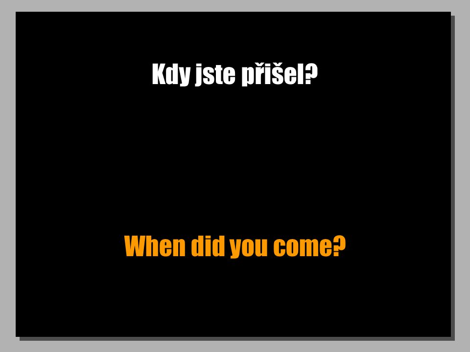 Kdy jste přišel? When did you come?