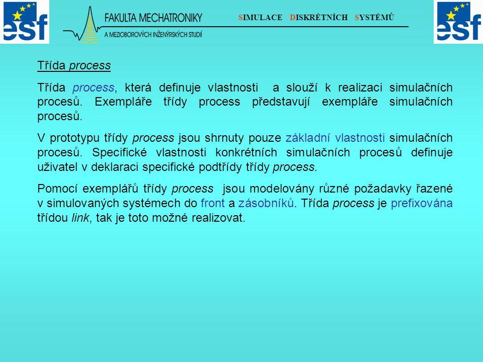 SIMULACE DISKRÉTNÍCH SYSTÉMŮ Třída process Třída process, která definuje vlastnosti a slouží k realizaci simulačních procesů.