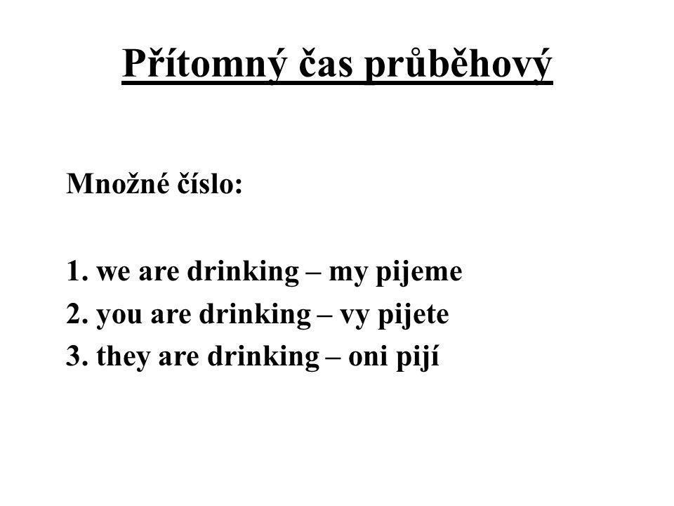 Přítomný čas průběhový Množné číslo: 1. we are drinking – my pijeme 2. you are drinking – vy pijete 3. they are drinking – oni pijí