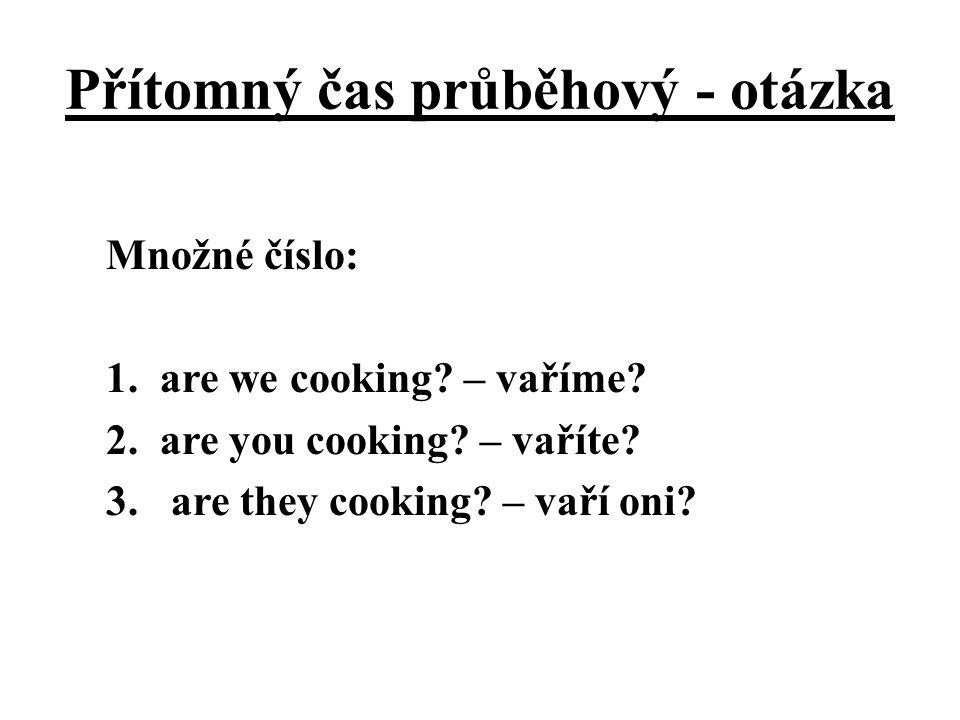 Přítomný čas průběhový - otázka Množné číslo: 1.are we cooking? – vaříme? 2.are you cooking? – vaříte? 3. are they cooking? – vaří oni?