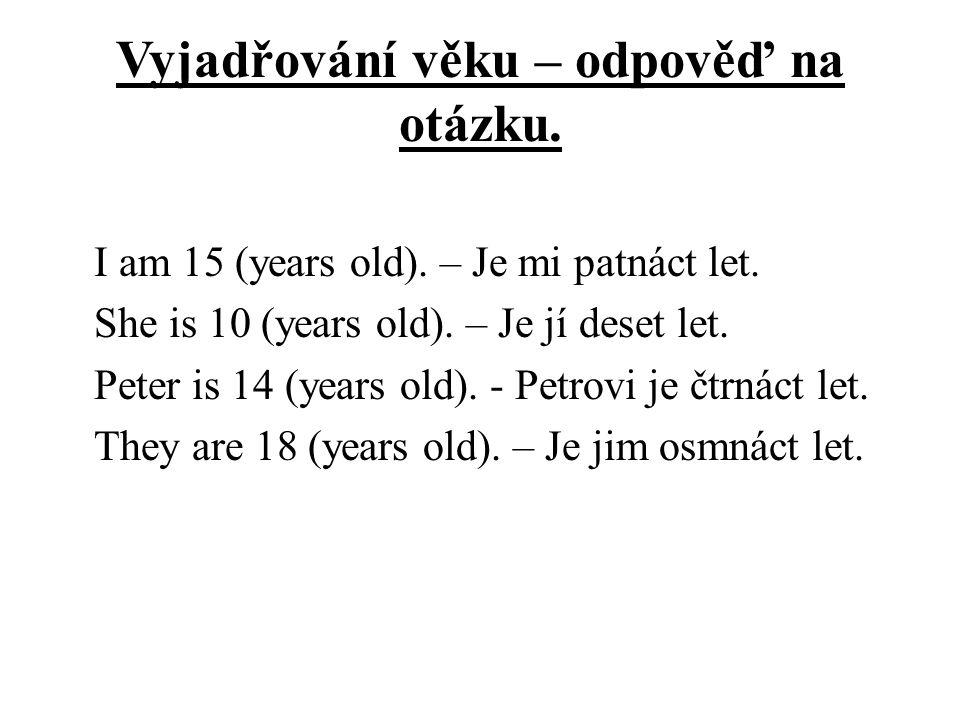 Vyjadřování věku – odpověď na otázku. I am 15 (years old).