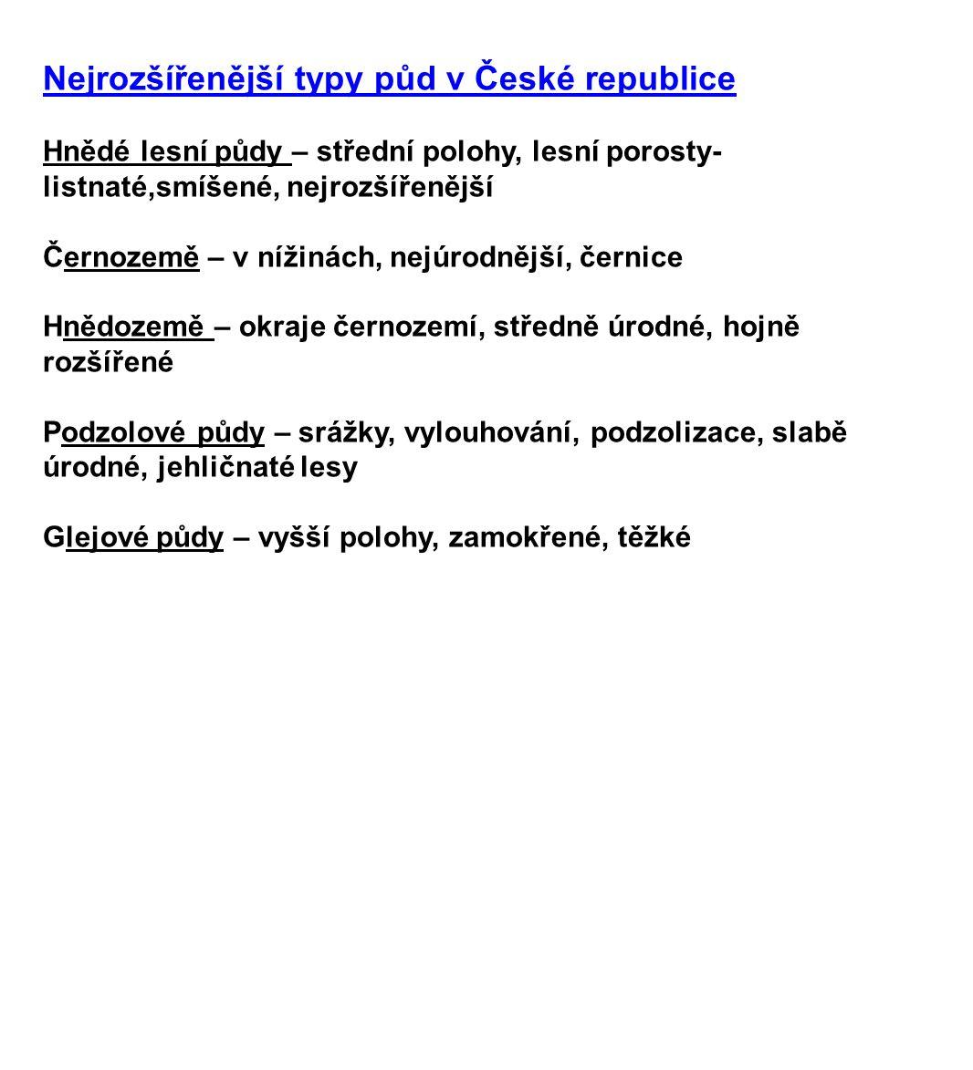 Nejrozšířenější typy půd v České republice Hnědé lesní půdy – střední polohy, lesní porosty- listnaté,smíšené, nejrozšířenější Černozemě – v nížinách,