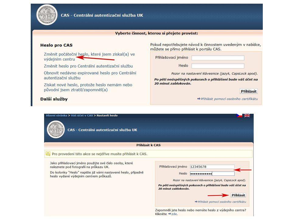 Zapomenuté heslo nové heslo získáte ve výdejním centru průkazů nebo vyplněním formuláře na stránce CAS: https://ldap1.cuni.cz https://ldap1.cuni.cz – adresa webové stránky centrální autentizační služby UK Pro nastavení hesla pomocí formuláře je nutné mít průkaz studenta.