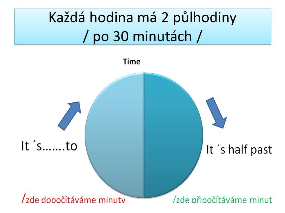1 hodina /60 minut/ = 1 hour