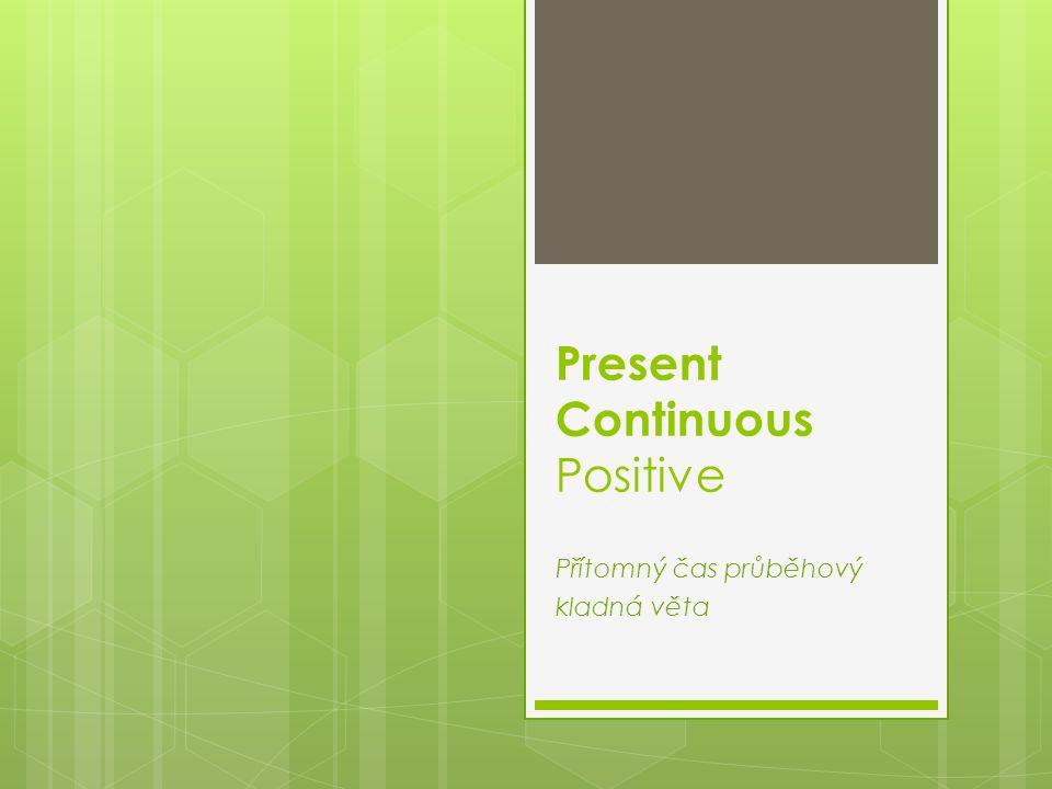 Positive - kladná věta: podmět + to be + sloveso s koncovkou -ing  I am sitt ing.