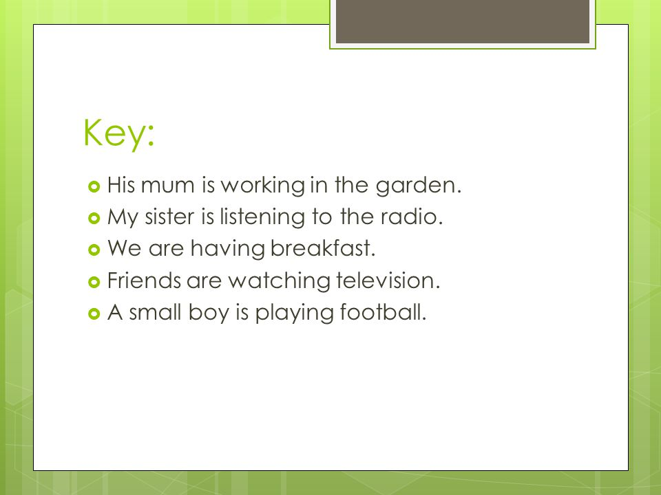 Key:  His mum is working in the garden.  My sister is listening to the radio.  We are having breakfast.  Friends are watching television.  A smal