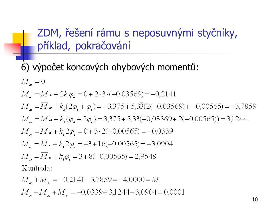 10 ZDM, řešení rámu s neposuvnými styčníky, příklad, pokračování 6) výpočet koncových ohybových momentů: