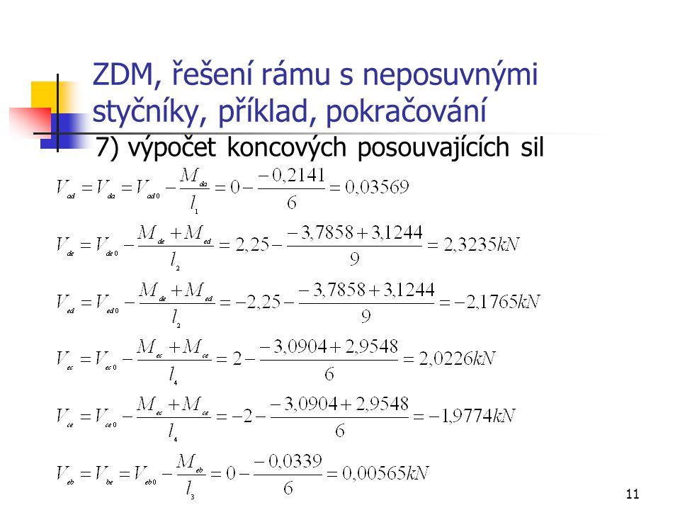 11 ZDM, řešení rámu s neposuvnými styčníky, příklad, pokračování 7) výpočet koncových posouvajících sil