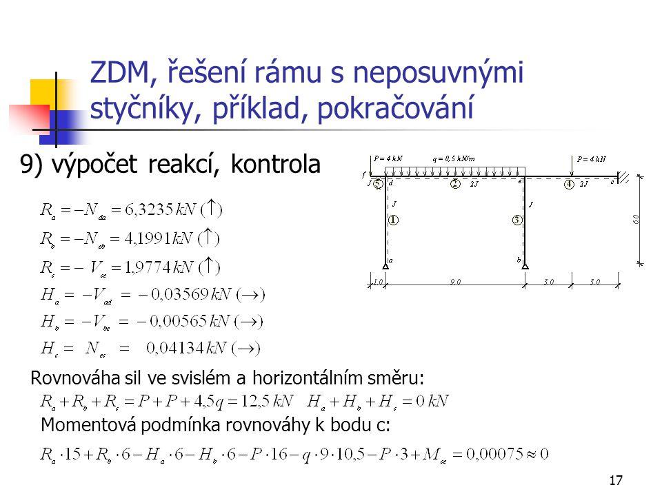17 ZDM, řešení rámu s neposuvnými styčníky, příklad, pokračování 9) výpočet reakcí, kontrola Rovnováha sil ve svislém a horizontálním směru: Momentová
