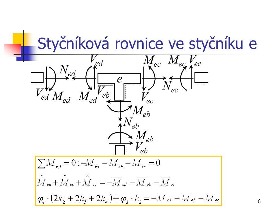 17 ZDM, řešení rámu s neposuvnými styčníky, příklad, pokračování 9) výpočet reakcí, kontrola Rovnováha sil ve svislém a horizontálním směru: Momentová podmínka rovnováhy k bodu c: