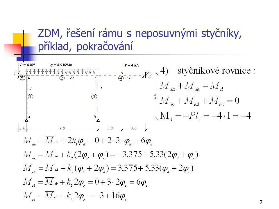 18 ZDM, řešení rámu s neposuvnými styčníky, příklad, průběh normálových sil + + 0,041 0,036 -6,324 -4,199 N c ab def