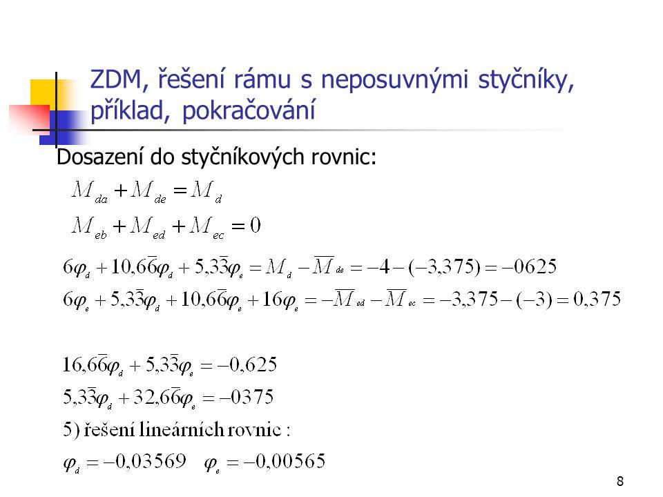 9 ZDM, řešení rámu s neposuvnými styčníky, příklad, tabelární sestavení soustavy rovnic