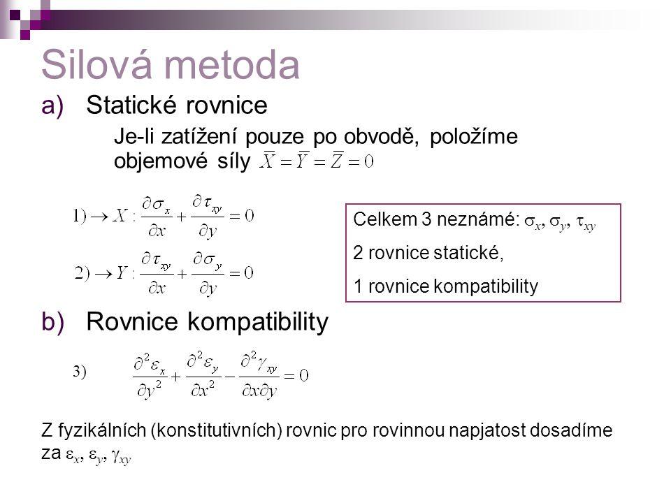 Silová metoda a)Statické rovnice Je-li zatížení pouze po obvodě, položíme objemové síly b)Rovnice kompatibility 3) Celkem 3 neznámé:  x  y  xy 2 rovnice statické, 1 rovnice kompatibility Z fyzikálních (konstitutivních) rovnic pro rovinnou napjatost dosadíme za  x  y  xy