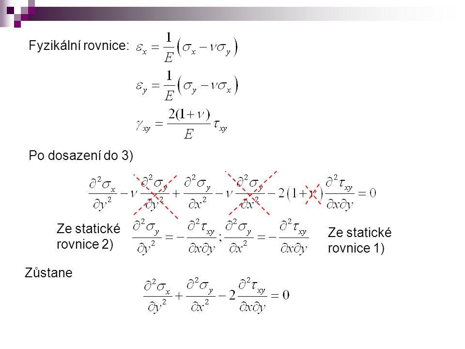 Opětovným dosazením ze statických rovnic: Laplaceův operátor: Rovnice kompatibility ve složkách napětí – Lévyho podmínka:
