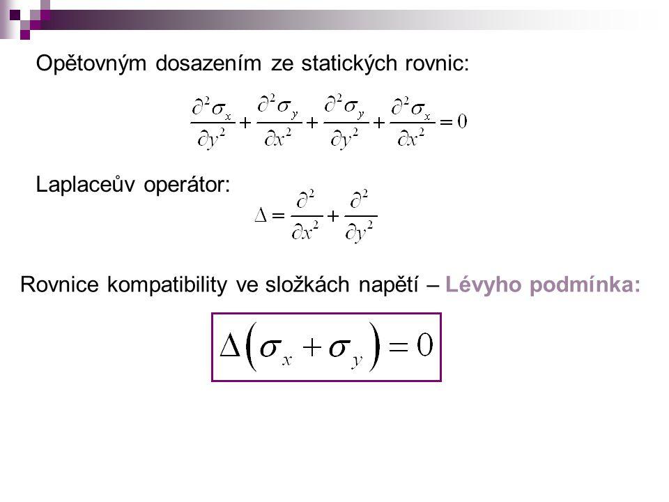 c)Řešení soustavy rovnic pomocí funkce napětí F 1) 2) 3) 3 parciální diferenciální rovnice 3 neznámé:  x  y  xy Zavedením tzv.