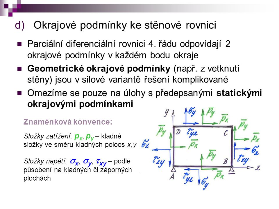 d)Okrajové podmínky ke stěnové rovnici Parciální diferenciální rovnici 4.