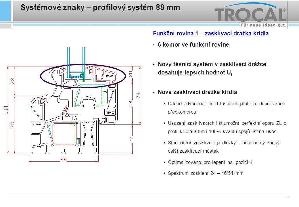 Systémové znaky – profilový systém 88 mm Funkční rovina 1 – zasklívací drážka křídla 6 komor ve funkční rovině Nový těsnící systém v zasklívací drážce