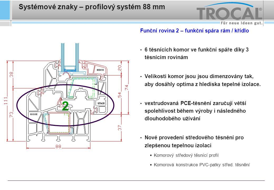 Systémové znaky – profilový systém 88 mm Funční rovina 2 – funkční spára rám / křídlo Velké (4-5mm) a rovné dosedací plochy těsnění zaručují rovnoměrný tlak těsnění Pro výrobu pevného zasklení nemusí být profil rámu nijak upravován Velká odvodňovací dekompresní komora před středovým těsněním pro dosažení vysoké těsnosti systému Nová vnější definovaná okapní hrana na křídle Rámové díly kování mohou být přišroubovány buď skrze 4 PVC stěny, nebo též i skrze výztuž 2