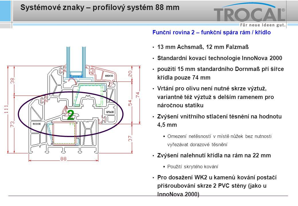 Systémové znaky – profilový systém 88 mm Funkční rovina 3 – napojovací drážka rámu 6 těsnících komor ve spojení s novými vedlejšími profily Naextrudované hadicové těsnění zajišťuje utěsnění v této spáře Vedlejší profily s nově vyvinutými dutými zámky zaručují optimální funkci zaklapnutí a navíc tepelně izolují Symetrické provedení drážky – vedlejší profily mohou být naklapnuty v různým místech drážky rámu Cílené odvodnění v místě napojení vnějších parapetů – šikmo konstruovaná drážka s dodatečnou okapovou hranou 3