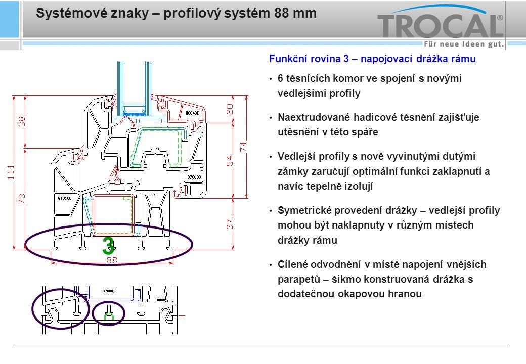 Systémové znaky – profilový systém 88 mm Funkční rovina 3 – napojovací drážka rámu 6 těsnících komor ve spojení s novými vedlejšími profily Naextrudov