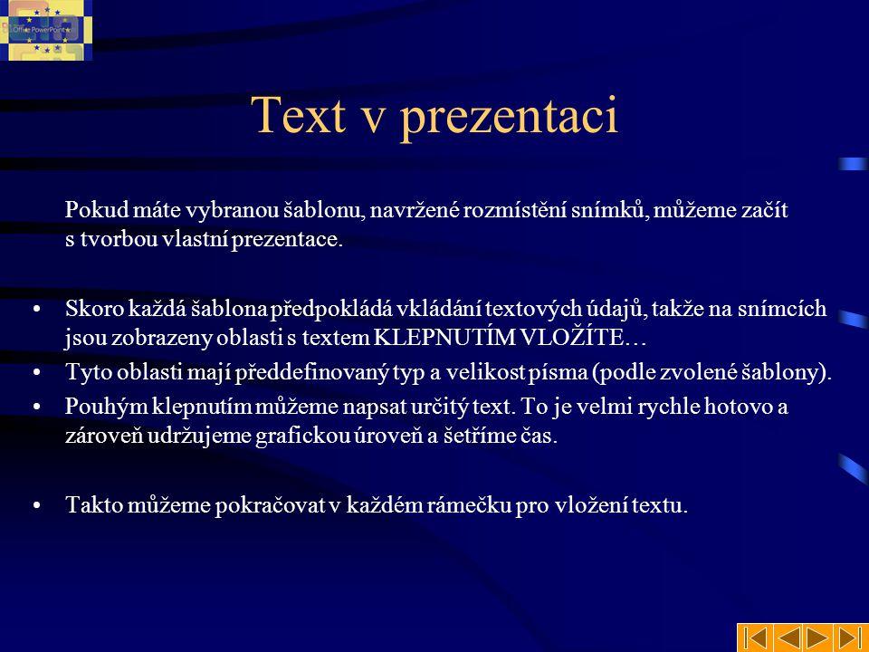 Text v prezentaci Pokud máte vybranou šablonu, navržené rozmístění snímků, můžeme začít s tvorbou vlastní prezentace.