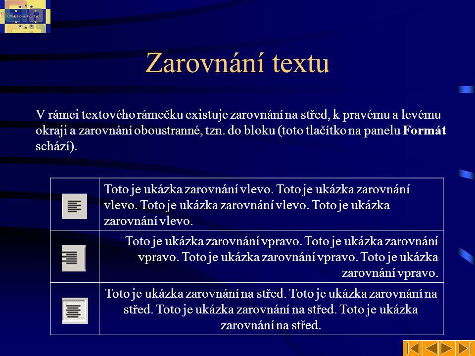 Zarovnání textu V rámci textového rámečku existuje zarovnání na střed, k pravému a levému okraji a zarovnání oboustranné, tzn.