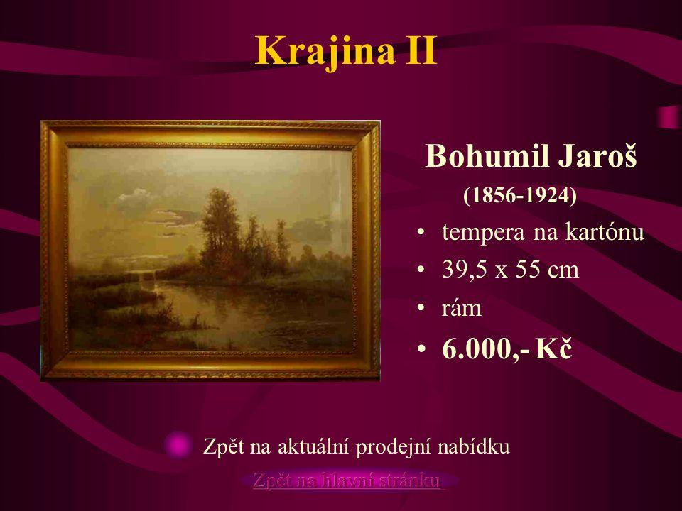 Krajina II Bohumil Jaroš (1856-1924) tempera na kartónu 39,5 x 55 cm rám 6.000,- Kč Zpět na aktuální prodejní nabídku