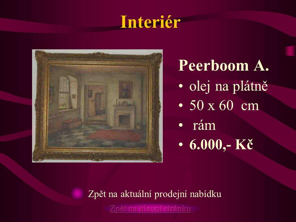 Interiér Peerboom A. olej na plátně 50 x 60 cm rám 6.000,- Kč Zpět na aktuální prodejní nabídku