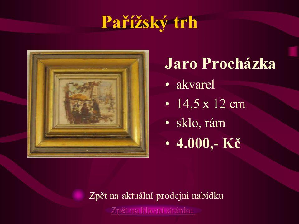 Pařížský trh Jaro Procházka akvarel 14,5 x 12 cm sklo, rám 4.000,- Kč Zpět na aktuální prodejní nabídku