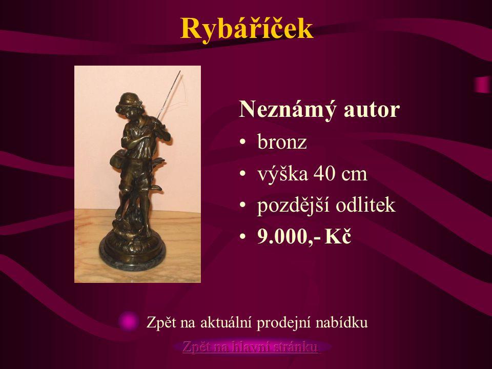 Rybáříček Neznámý autor bronz výška 40 cm pozdější odlitek 9.000,- Kč Zpět na aktuální prodejní nabídku