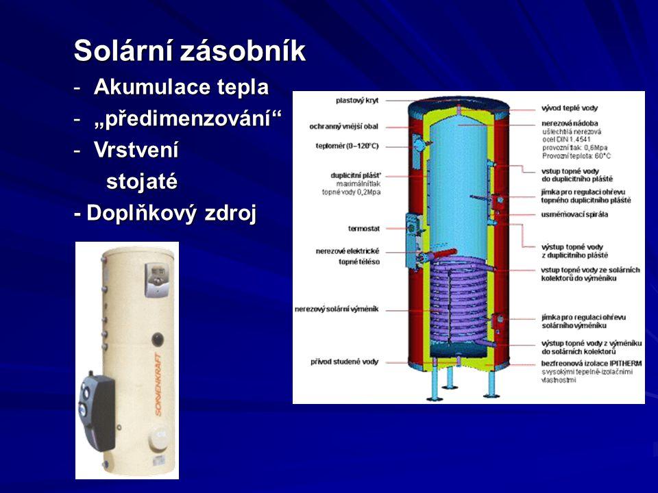 """Solární zásobník -Akumulace tepla -""""předimenzování -Vrstvení stojaté - Doplňkový zdroj"""