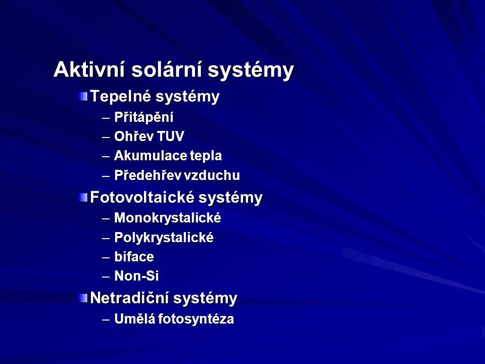 Aktivní solární systémy Tepelné systémy –Přitápění –Ohřev TUV –Akumulace tepla –Předehřev vzduchu Fotovoltaické systémy –Monokrystalické –Polykrystalické –biface –Non-Si Netradiční systémy –Umělá fotosyntéza
