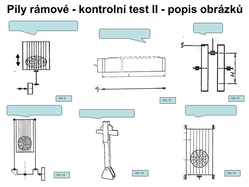 Pily rámové - kontrolní test II - popis obrázků Obr.9 Obr.10 Obr.12 Obr.13Obr.14 Obr.11