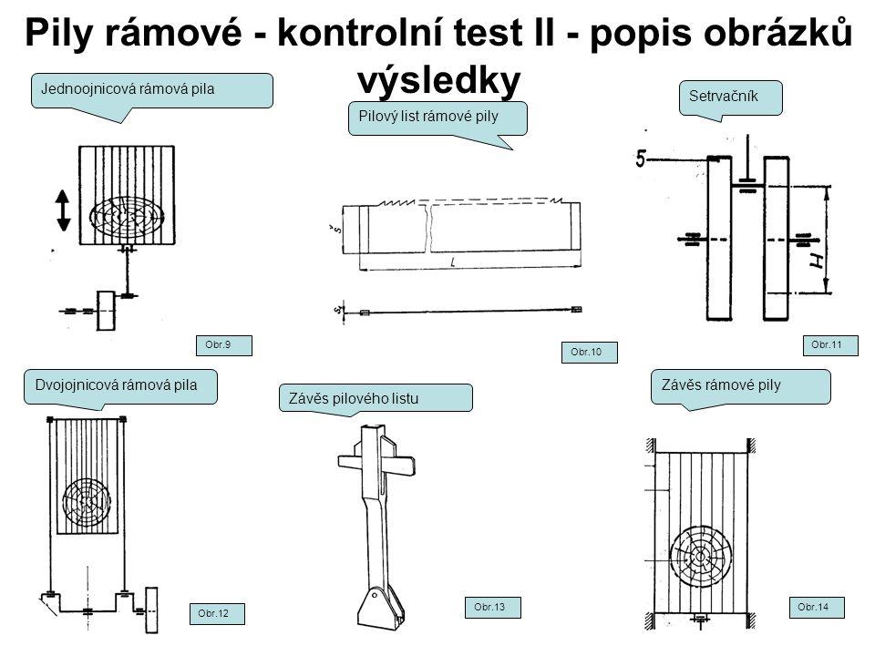Pily rámové - kontrolní test II - popis obrázků výsledky Jednoojnicová rámová pila Pilový list rámové pily Setrvačník Dvojojnicová rámová pilaZávěs rá