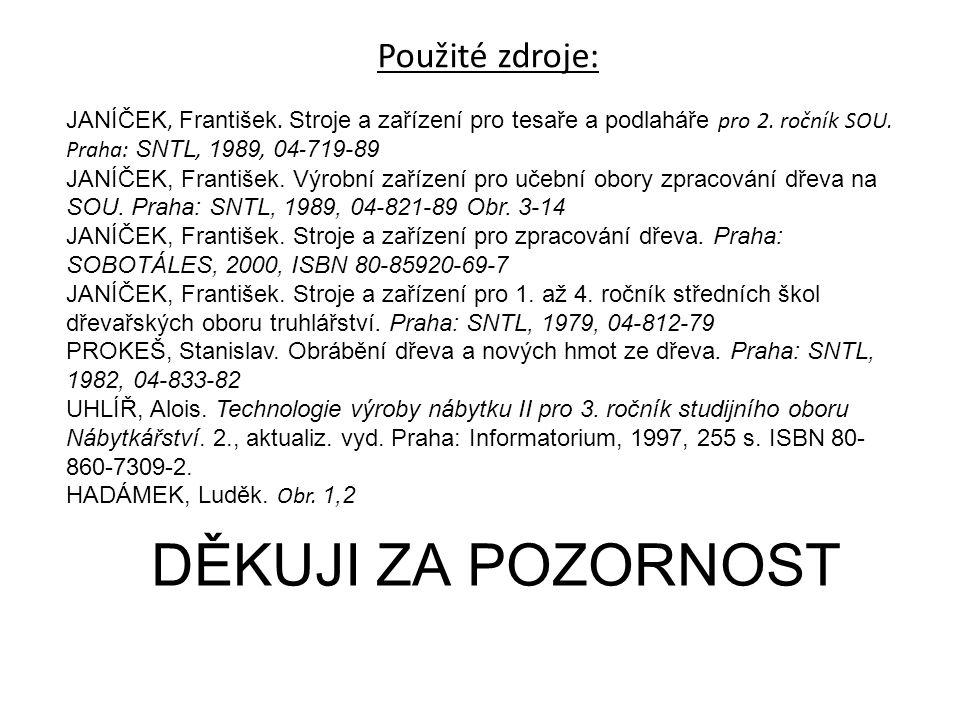 DĚKUJI ZA POZORNOST Použité zdroje: JANÍČEK, František. Stroje a zařízení pro tesaře a podlaháře pro 2. ročník SOU. Praha: SNTL, 1989, 04 - 719-89 JAN