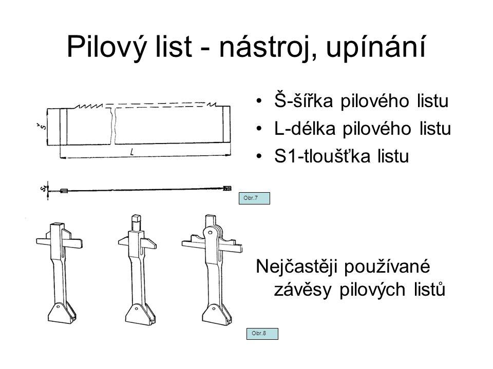Pilový list - nástroj, upínání Š-šířka pilového listu L-délka pilového listu S1-tloušťka listu Nejčastěji používané závěsy pilových listů Obr.7 Obr.8
