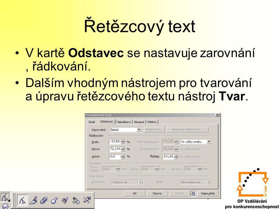 Řetězcový text V kartě Odstavec se nastavuje zarovnání, řádkování. Dalším vhodným nástrojem pro tvarování a úpravu řetězcového textu nástroj Tvar.