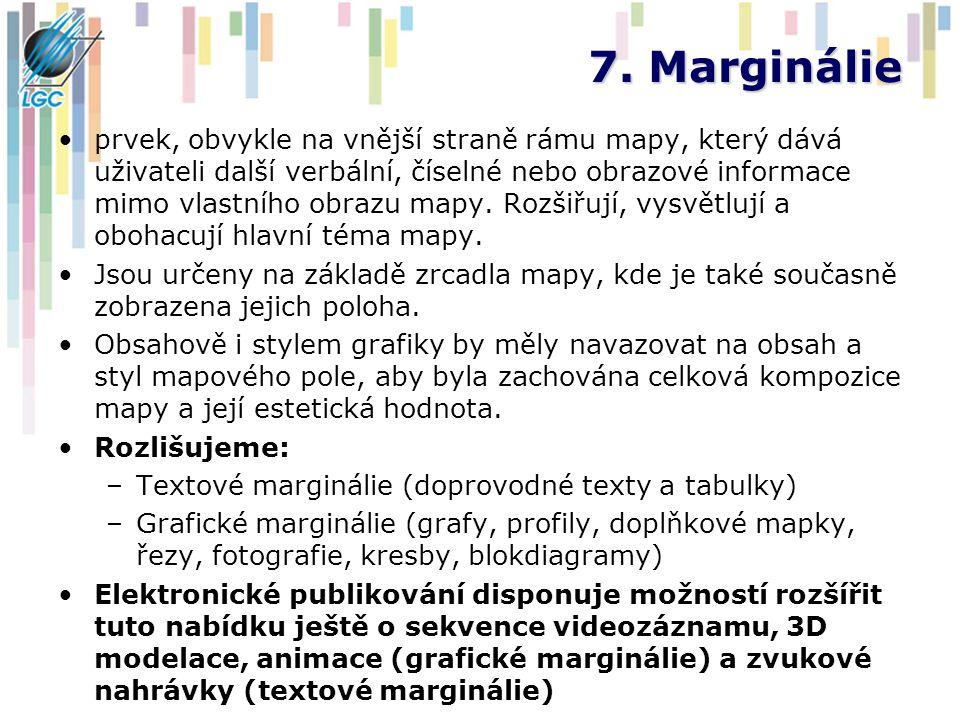 7. Marginálie prvek, obvykle na vnější straně rámu mapy, který dává uživateli další verbální, číselné nebo obrazové informace mimo vlastního obrazu ma