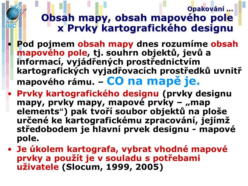 Opakování... Obsah mapy, obsah mapového pole x Prvky kartografického designu Pod pojmem obsah mapy dnes rozumíme obsah mapového pole, tj. souhrn objek