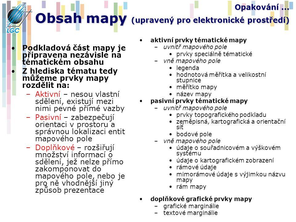 Opakování... Obsah mapy (upravený pro elektronické prostředí) Podkladová část mapy je připravena nezávisle na tématickém obsahu Z hlediska tématu tedy