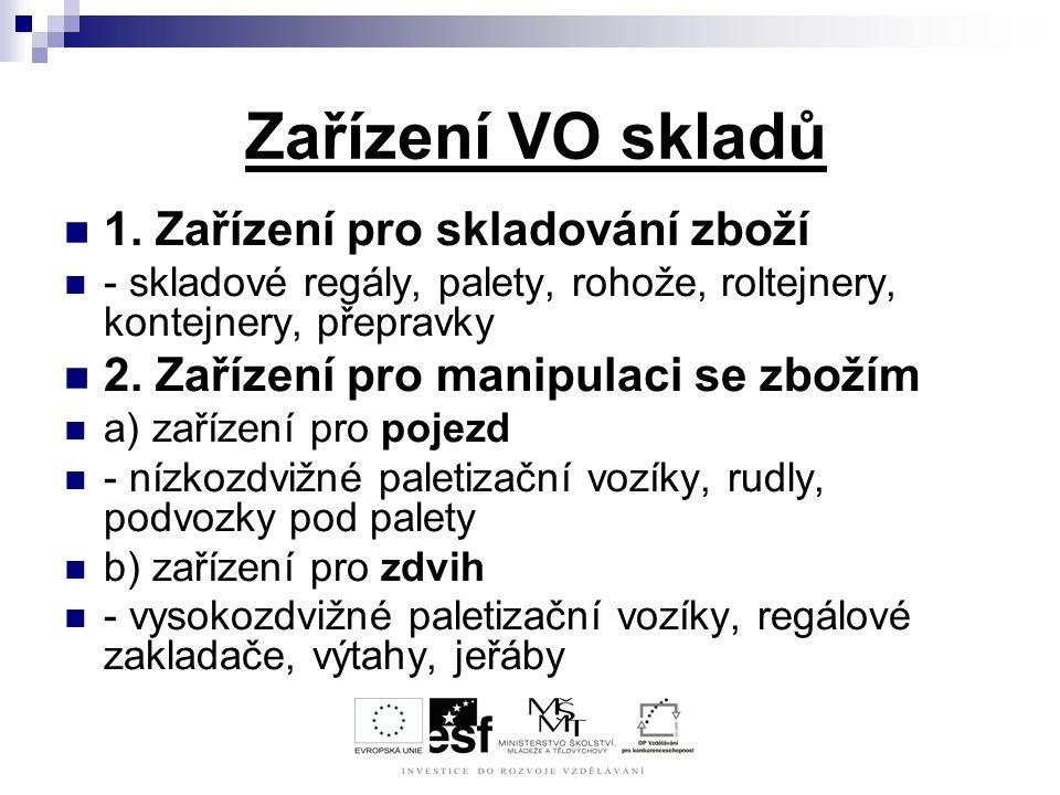 Zařízení VO skladů 1. Zařízení pro skladování zboží - skladové regály, palety, rohože, roltejnery, kontejnery, přepravky 2. Zařízení pro manipulaci se